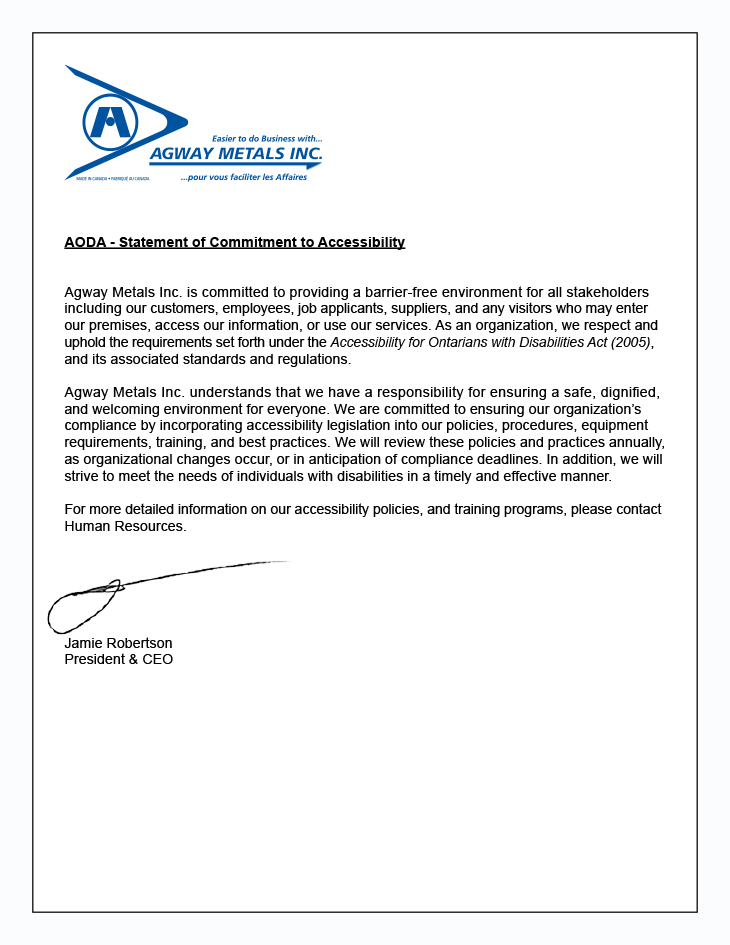 AODA - Statement of Commitment to Accessibility