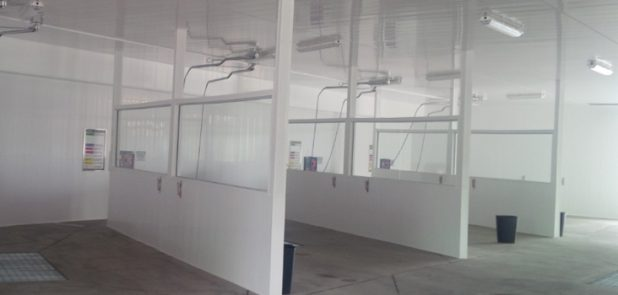 norlock wall panel application, commercial. partial walls in a car wash.